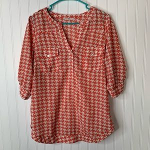 41 Hawthorn coral pink houndstooth shirt size L
